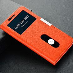 Coque Portefeuille Livre Cuir Etui Clapet L02 pour OnePlus 5T A5010 Orange