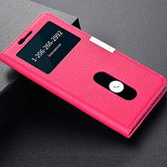 Coque Portefeuille Livre Cuir Etui Clapet L02 pour OnePlus 5T A5010 Rose Rouge