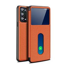 Coque Portefeuille Livre Cuir Etui Clapet L02 pour Oppo Reno5 Pro 5G Marron