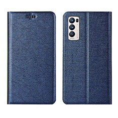 Coque Portefeuille Livre Cuir Etui Clapet L02 pour Oppo Reno5 Pro+ Plus 5G Bleu
