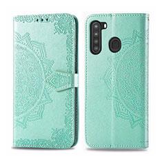 Coque Portefeuille Livre Cuir Etui Clapet L02 pour Samsung Galaxy A21 Pastel Vert