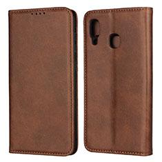 Coque Portefeuille Livre Cuir Etui Clapet L02 pour Samsung Galaxy A30 Marron