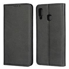 Coque Portefeuille Livre Cuir Etui Clapet L02 pour Samsung Galaxy A30 Noir