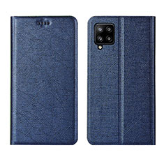 Coque Portefeuille Livre Cuir Etui Clapet L02 pour Samsung Galaxy A42 5G Bleu
