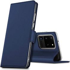 Coque Portefeuille Livre Cuir Etui Clapet L02 pour Samsung Galaxy S20 Ultra 5G Bleu