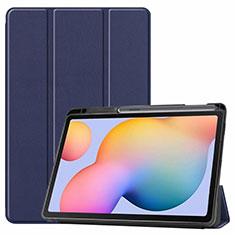 Coque Portefeuille Livre Cuir Etui Clapet L02 pour Samsung Galaxy Tab S6 Lite 4G 10.4 SM-P615 Bleu
