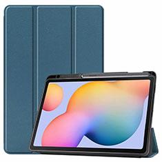Coque Portefeuille Livre Cuir Etui Clapet L02 pour Samsung Galaxy Tab S6 Lite 4G 10.4 SM-P615 Vert