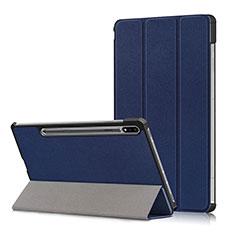 Coque Portefeuille Livre Cuir Etui Clapet L02 pour Samsung Galaxy Tab S7 Plus 12.4 Wi-Fi SM-T970 Bleu