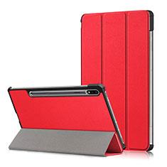 Coque Portefeuille Livre Cuir Etui Clapet L02 pour Samsung Galaxy Tab S7 Plus 12.4 Wi-Fi SM-T970 Rouge