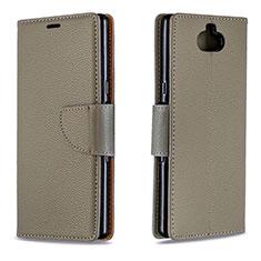 Coque Portefeuille Livre Cuir Etui Clapet L02 pour Sony Xperia 10 Gris