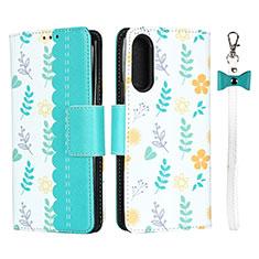 Coque Portefeuille Livre Cuir Etui Clapet L02 pour Sony Xperia 10 II Cyan