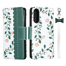 Coque Portefeuille Livre Cuir Etui Clapet L02 pour Sony Xperia 10 II Vert