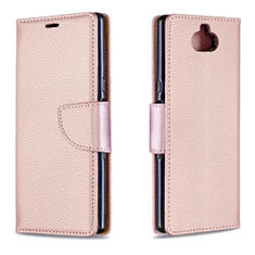 Coque Portefeuille Livre Cuir Etui Clapet L02 pour Sony Xperia 10 Or Rose