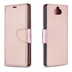 Coque Portefeuille Livre Cuir Etui Clapet L02 pour Sony Xperia 10 Plus Or Rose