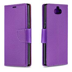 Coque Portefeuille Livre Cuir Etui Clapet L02 pour Sony Xperia 10 Violet
