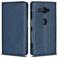 Coque Portefeuille Livre Cuir Etui Clapet L02 pour Sony Xperia XZ2 Compact Bleu
