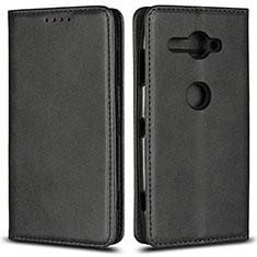 Coque Portefeuille Livre Cuir Etui Clapet L02 pour Sony Xperia XZ2 Compact Noir