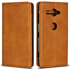 Coque Portefeuille Livre Cuir Etui Clapet L02 pour Sony Xperia XZ2 Compact Orange