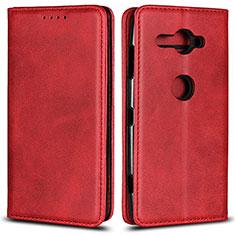 Coque Portefeuille Livre Cuir Etui Clapet L02 pour Sony Xperia XZ2 Compact Rouge