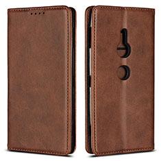 Coque Portefeuille Livre Cuir Etui Clapet L02 pour Sony Xperia XZ2 Marron