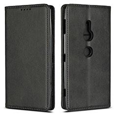 Coque Portefeuille Livre Cuir Etui Clapet L02 pour Sony Xperia XZ2 Noir