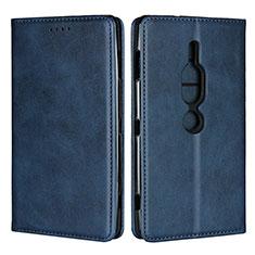 Coque Portefeuille Livre Cuir Etui Clapet L02 pour Sony Xperia XZ2 Premium Bleu