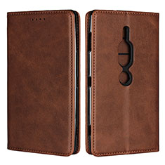 Coque Portefeuille Livre Cuir Etui Clapet L02 pour Sony Xperia XZ2 Premium Marron