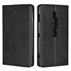 Coque Portefeuille Livre Cuir Etui Clapet L02 pour Sony Xperia XZ2 Premium Noir
