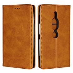 Coque Portefeuille Livre Cuir Etui Clapet L02 pour Sony Xperia XZ2 Premium Orange