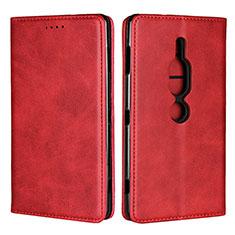 Coque Portefeuille Livre Cuir Etui Clapet L02 pour Sony Xperia XZ2 Premium Rouge