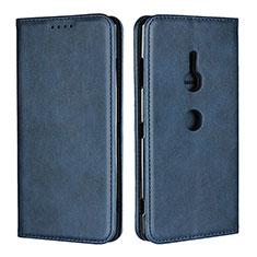 Coque Portefeuille Livre Cuir Etui Clapet L02 pour Sony Xperia XZ3 Bleu