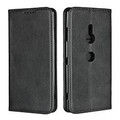 Coque Portefeuille Livre Cuir Etui Clapet L02 pour Sony Xperia XZ3 Noir