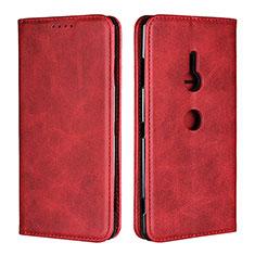 Coque Portefeuille Livre Cuir Etui Clapet L02 pour Sony Xperia XZ3 Rouge