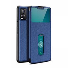 Coque Portefeuille Livre Cuir Etui Clapet L02 pour Vivo V20 Pro 5G Bleu