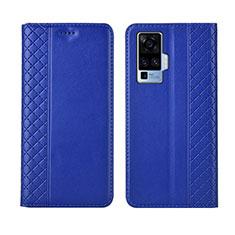 Coque Portefeuille Livre Cuir Etui Clapet L02 pour Vivo X50 Pro 5G Bleu