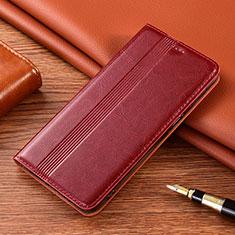 Coque Portefeuille Livre Cuir Etui Clapet L02 pour Vivo X50e 5G Vin Rouge