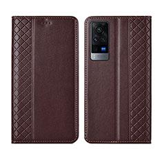 Coque Portefeuille Livre Cuir Etui Clapet L02 pour Vivo X60 5G Marron