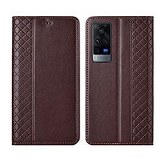 Coque Portefeuille Livre Cuir Etui Clapet L02 pour Vivo X60 Pro 5G Marron