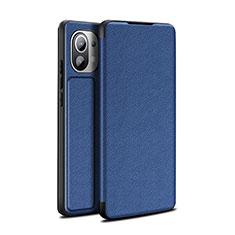 Coque Portefeuille Livre Cuir Etui Clapet L02 pour Xiaomi Mi 11 5G Bleu
