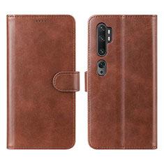 Coque Portefeuille Livre Cuir Etui Clapet L02 pour Xiaomi Mi Note 10 Marron