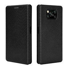 Coque Portefeuille Livre Cuir Etui Clapet L02 pour Xiaomi Poco X3 NFC Noir