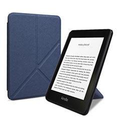 Coque Portefeuille Livre Cuir Etui Clapet L03 pour Amazon Kindle 6 inch Bleu