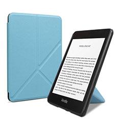 Coque Portefeuille Livre Cuir Etui Clapet L03 pour Amazon Kindle 6 inch Bleu Ciel