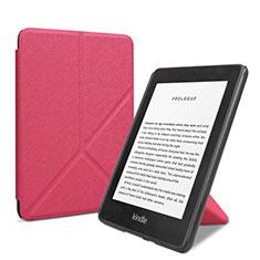 Coque Portefeuille Livre Cuir Etui Clapet L03 pour Amazon Kindle 6 inch Rose Rouge