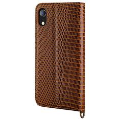 Coque Portefeuille Livre Cuir Etui Clapet L03 pour Apple iPhone XR Marron