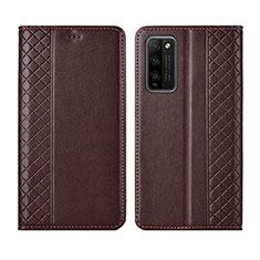 Coque Portefeuille Livre Cuir Etui Clapet L03 pour Huawei Honor 30 Lite 5G Marron