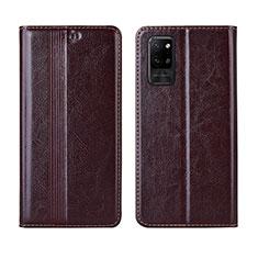 Coque Portefeuille Livre Cuir Etui Clapet L03 pour Huawei Honor Play4 Pro 5G Marron