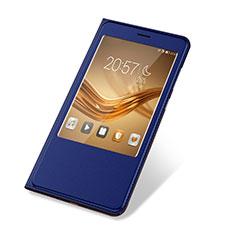 Coque Portefeuille Livre Cuir Etui Clapet L03 pour Huawei Honor V8 Max Bleu