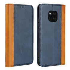 Coque Portefeuille Livre Cuir Etui Clapet L03 pour Huawei Mate 20 Pro Bleu