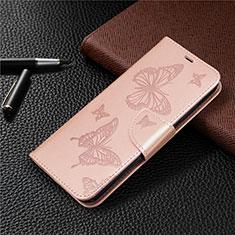 Coque Portefeuille Livre Cuir Etui Clapet L03 pour Huawei Y7p Or Rose